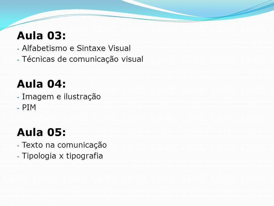 Aula 03: Aula 04: Aula 05: Alfabetismo e Sintaxe Visual