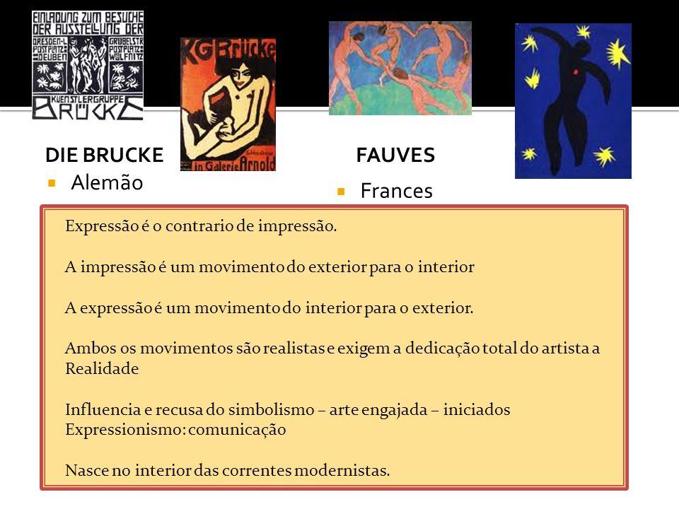 Alemão Frances Die Brucke Fauves Expressão é o contrario de impressão.