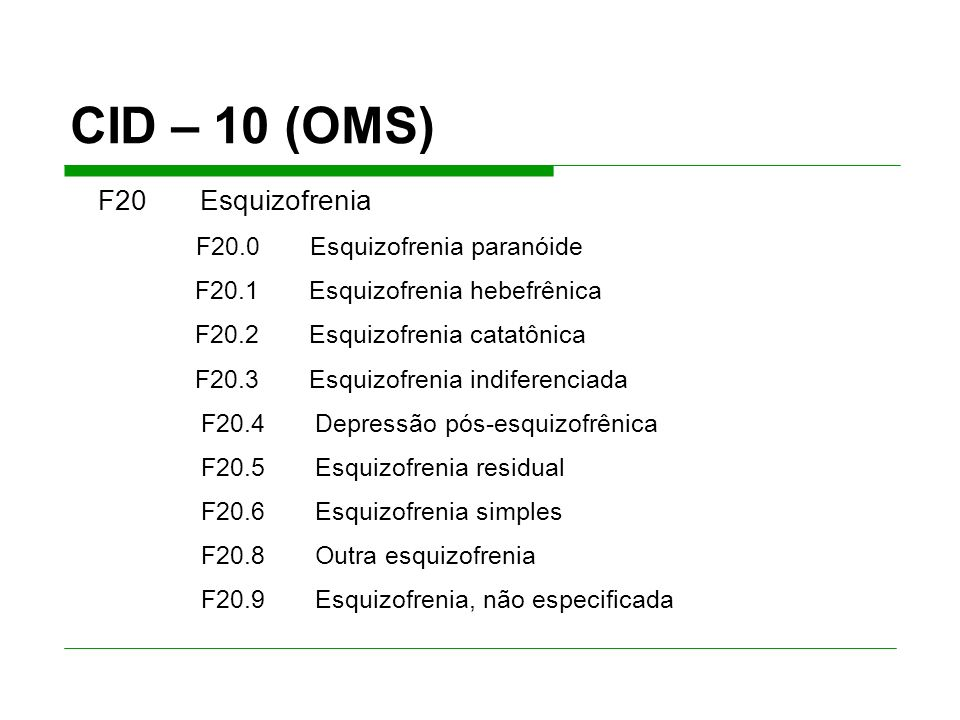 CID – 10 (OMS) F20.4 Depressão pós-esquizofrênica