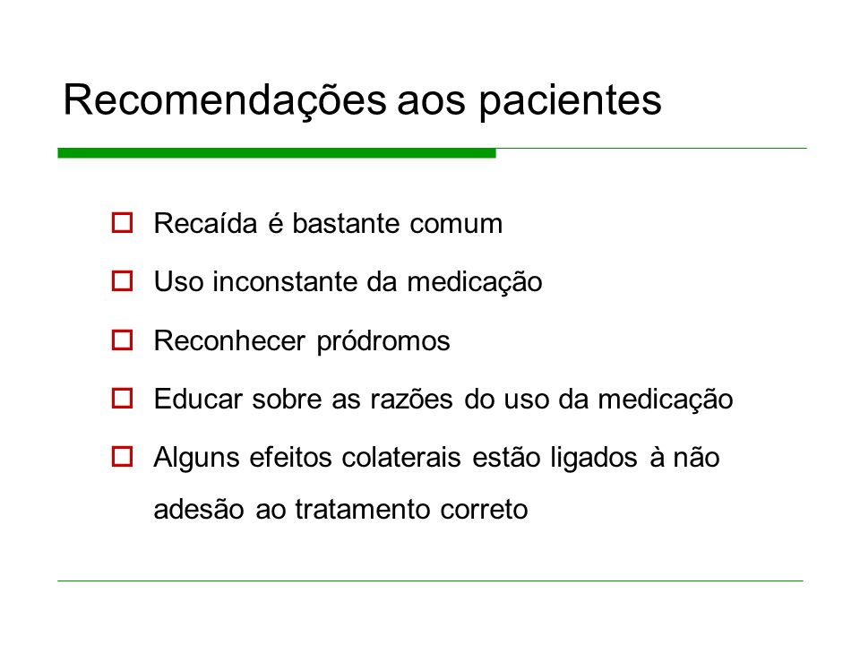 Recomendações aos pacientes