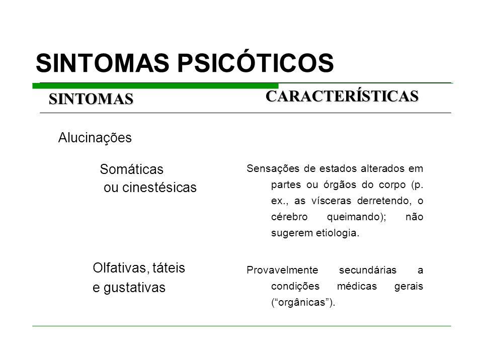 SINTOMAS PSICÓTICOS CARACTERÍSTICAS SINTOMAS Somáticas ou cinestésicas