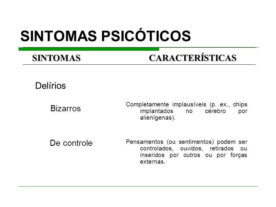 SINTOMAS PSICÓTICOS De controle SINTOMAS CARACTERÍSTICAS Delírios