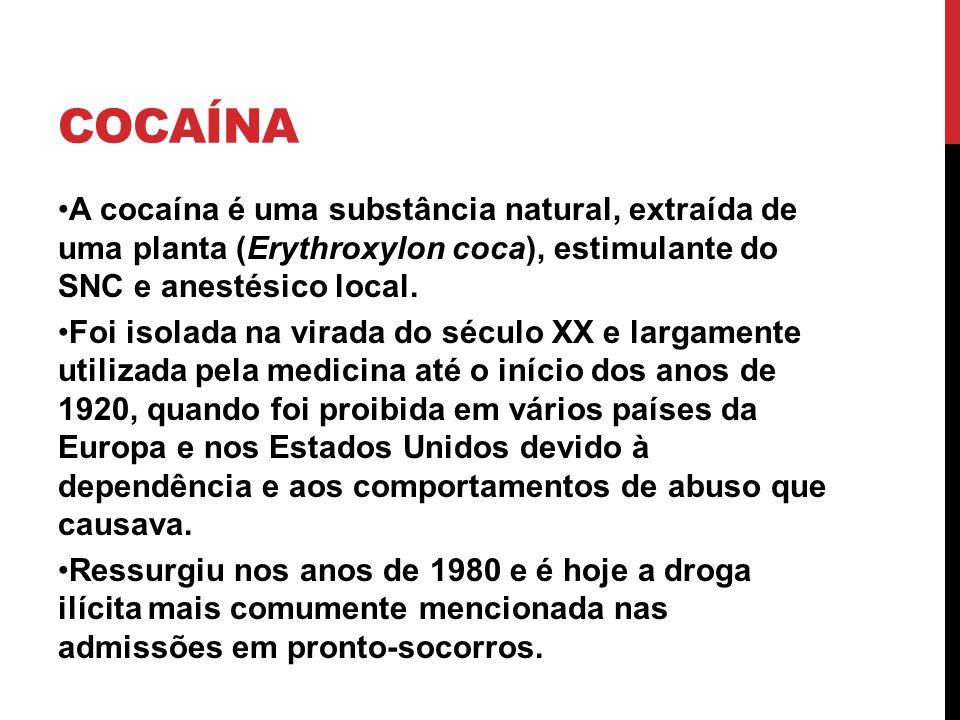 Cocaína A cocaína é uma substância natural, extraída de uma planta (Erythroxylon coca), estimulante do SNC e anestésico local.