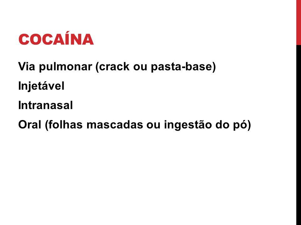Cocaína Via pulmonar (crack ou pasta-base) Injetável Intranasal Oral (folhas mascadas ou ingestão do pó)