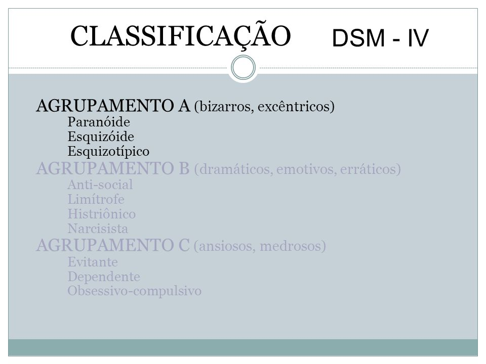 CLASSIFICAÇÃO DSM - IV AGRUPAMENTO A (bizarros, excêntricos)