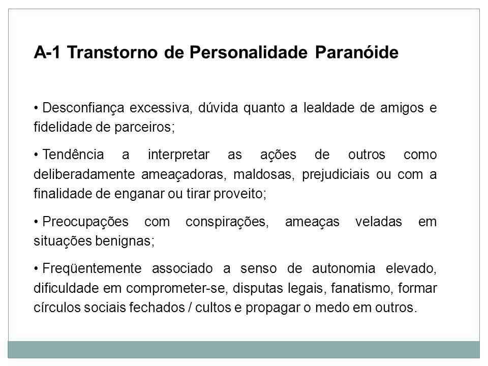 A-1 Transtorno de Personalidade Paranóide