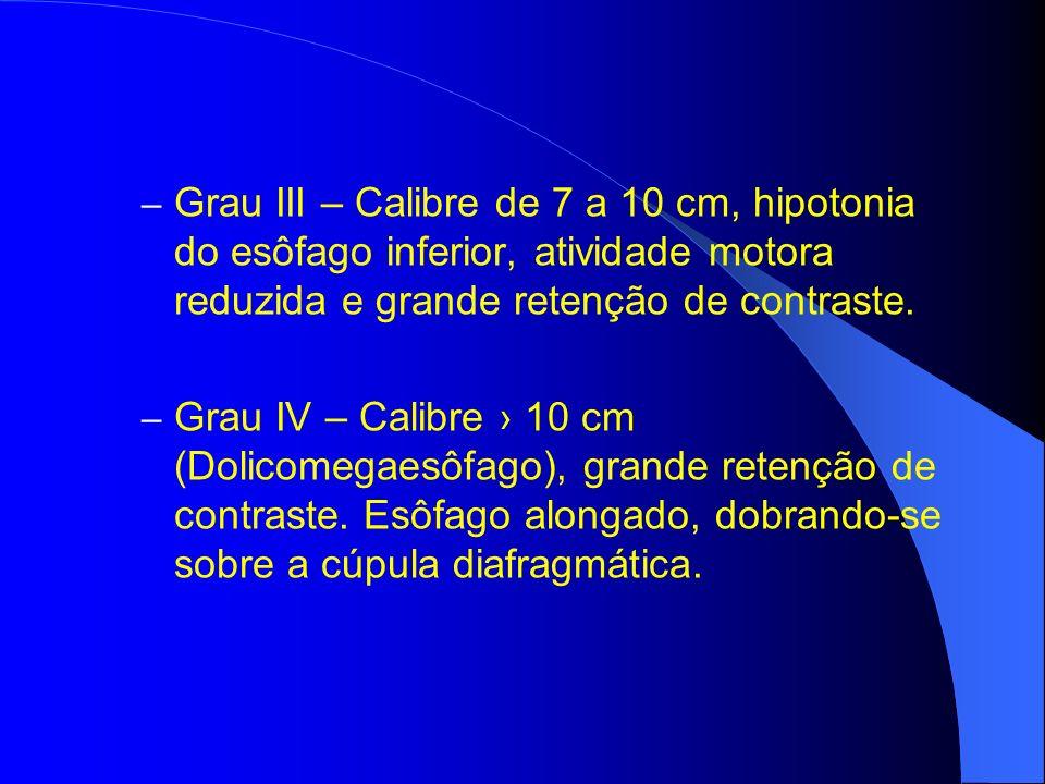 Grau III – Calibre de 7 a 10 cm, hipotonia do esôfago inferior, atividade motora reduzida e grande retenção de contraste.