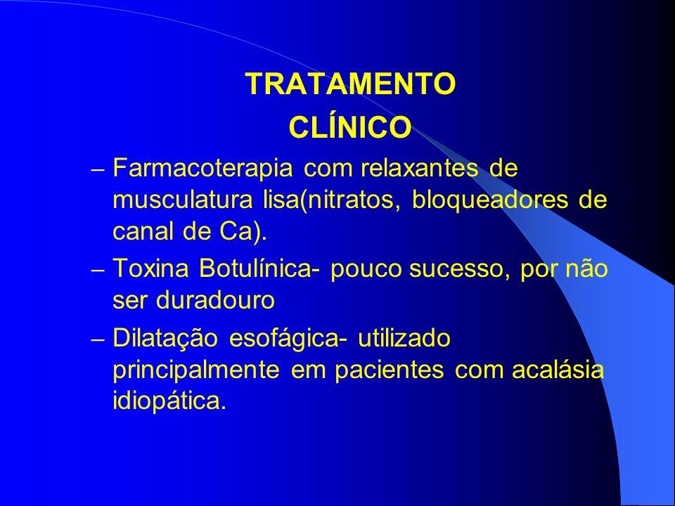 TRATAMENTO CLÍNICO. Farmacoterapia com relaxantes de musculatura lisa(nitratos, bloqueadores de canal de Ca).