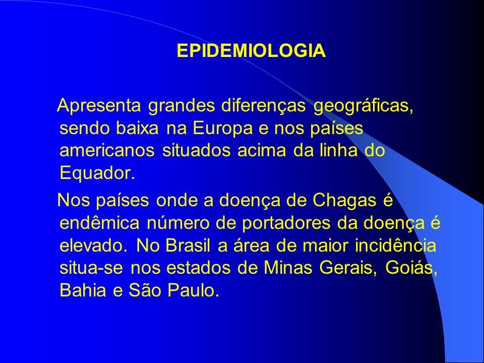 EPIDEMIOLOGIA Apresenta grandes diferenças geográficas, sendo baixa na Europa e nos países americanos situados acima da linha do Equador.