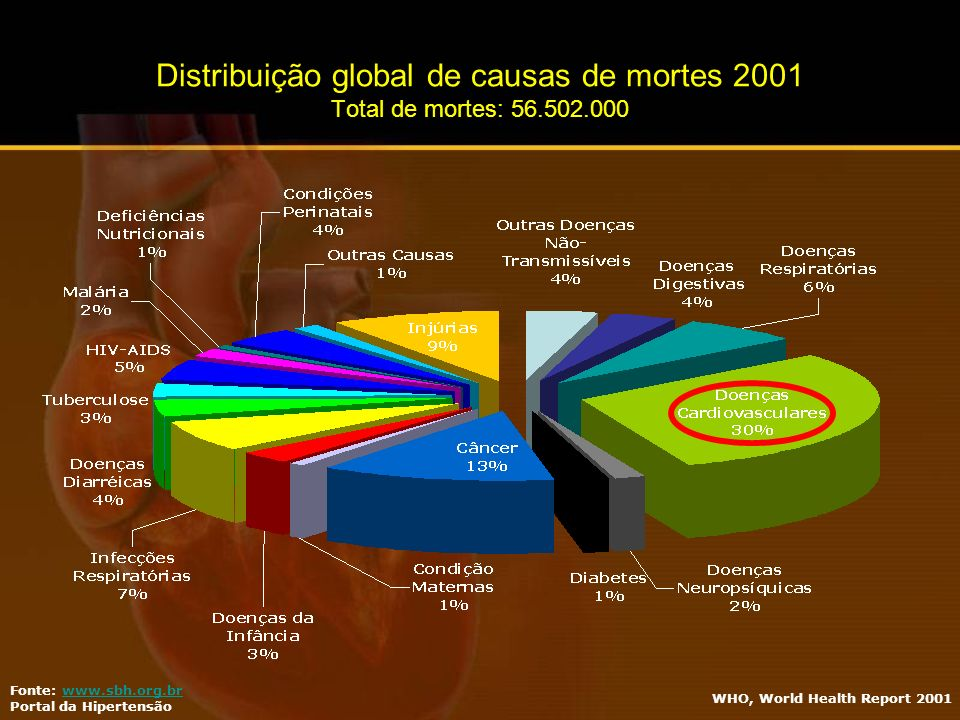 Distribuição global de causas de mortes 2001 Total de mortes: 56. 502