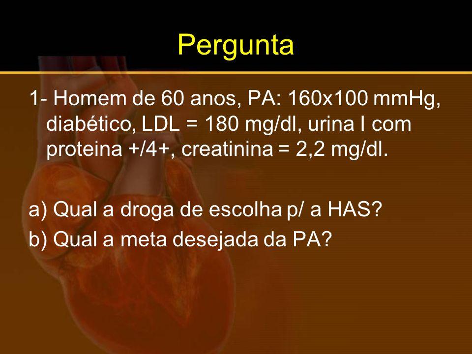 Pergunta 1- Homem de 60 anos, PA: 160x100 mmHg, diabético, LDL = 180 mg/dl, urina I com proteina +/4+, creatinina = 2,2 mg/dl.