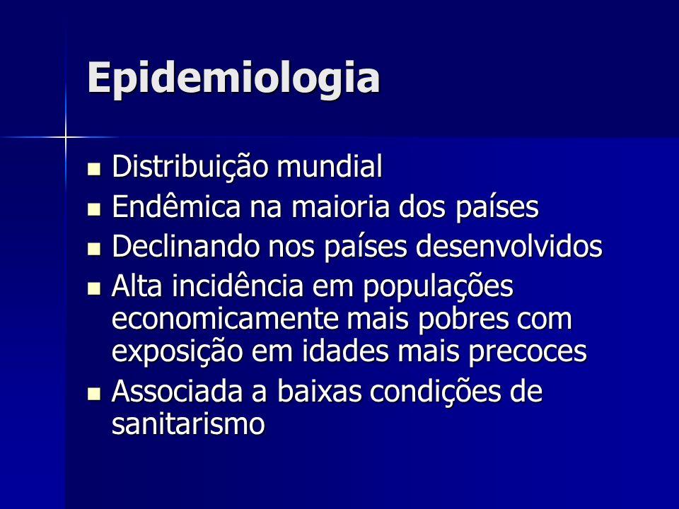 Epidemiologia Distribuição mundial Endêmica na maioria dos países