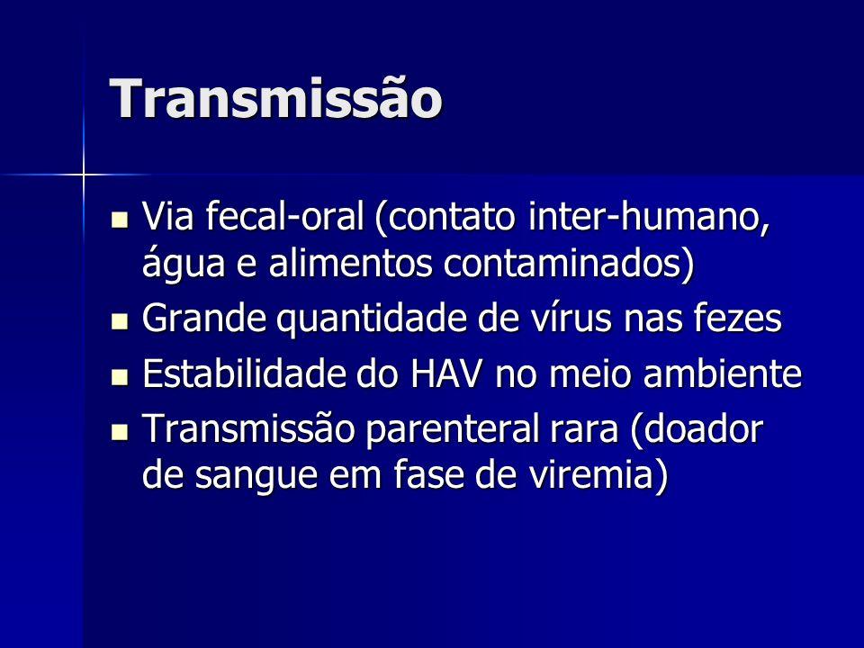 Transmissão Via fecal-oral (contato inter-humano, água e alimentos contaminados) Grande quantidade de vírus nas fezes.