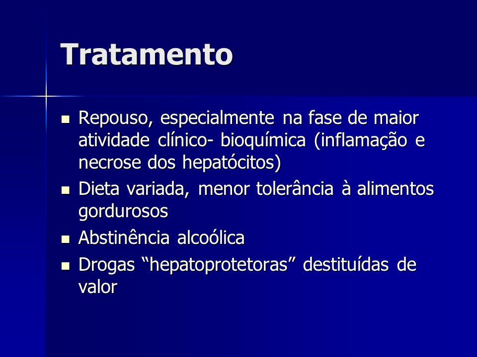 Tratamento Repouso, especialmente na fase de maior atividade clínico- bioquímica (inflamação e necrose dos hepatócitos)