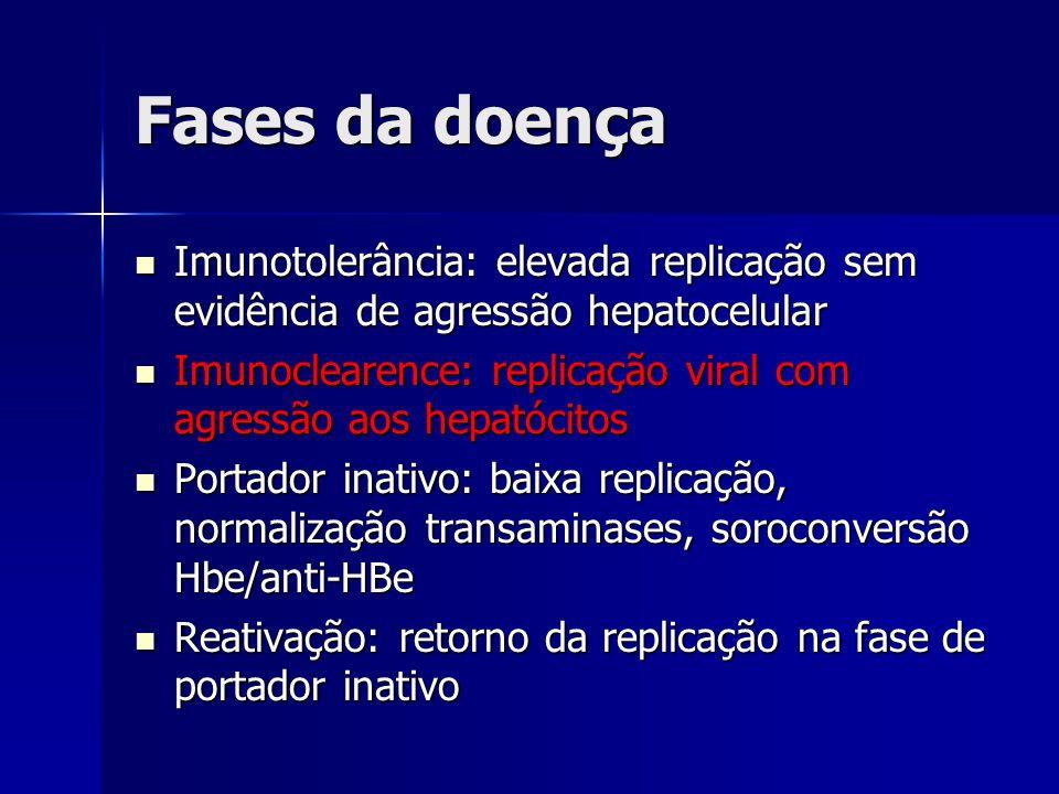 Fases da doença Imunotolerância: elevada replicação sem evidência de agressão hepatocelular.
