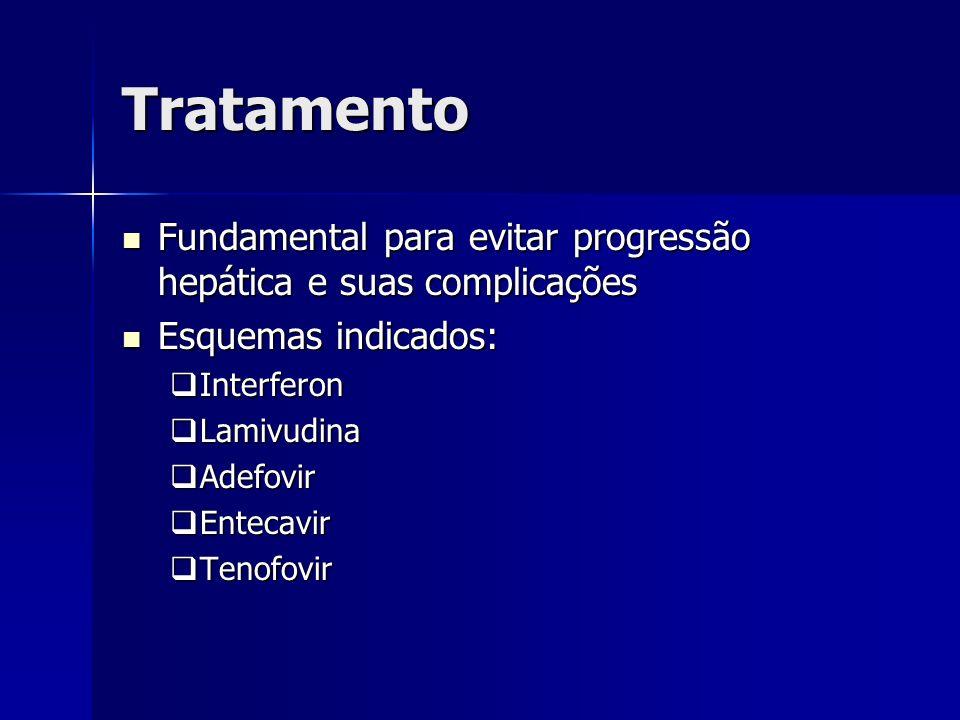 Tratamento Fundamental para evitar progressão hepática e suas complicações. Esquemas indicados: Interferon.