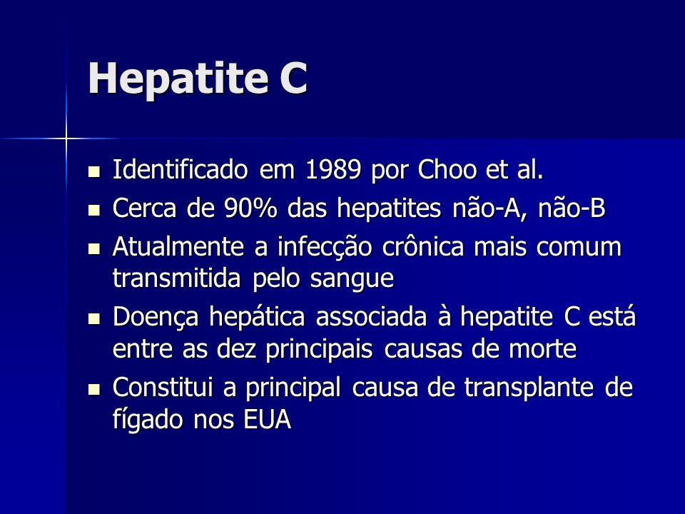 Hepatite C Identificado em 1989 por Choo et al.