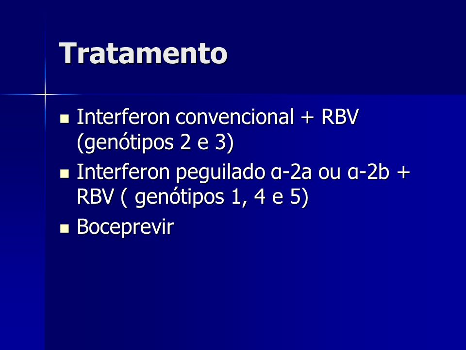 Tratamento Interferon convencional + RBV (genótipos 2 e 3)