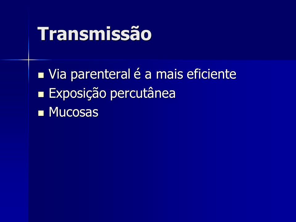 Transmissão Via parenteral é a mais eficiente Exposição percutânea