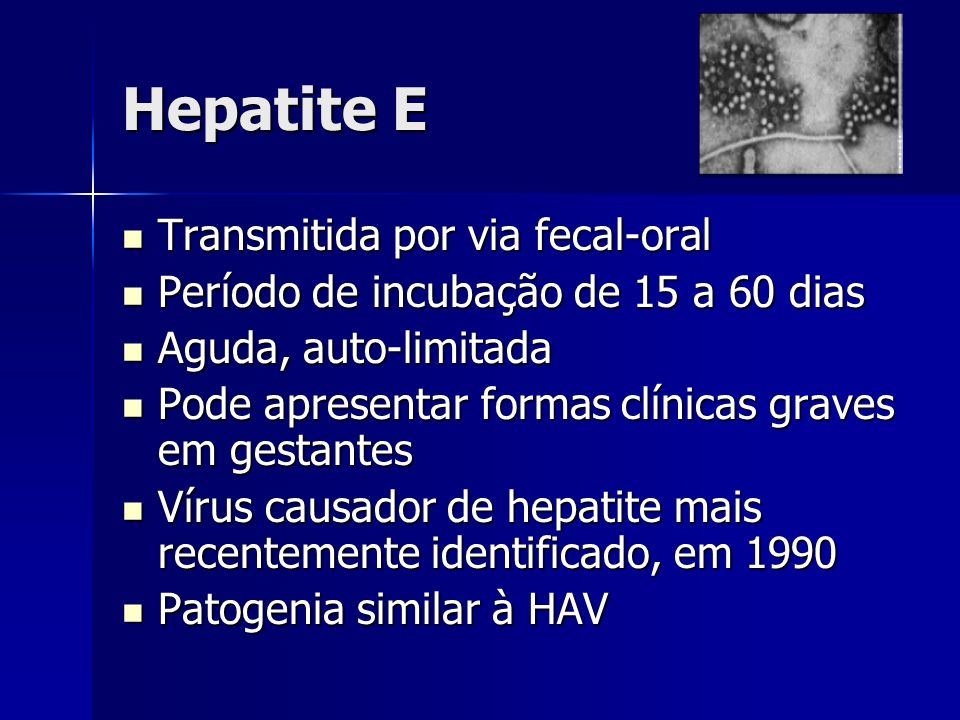 Hepatite E Transmitida por via fecal-oral