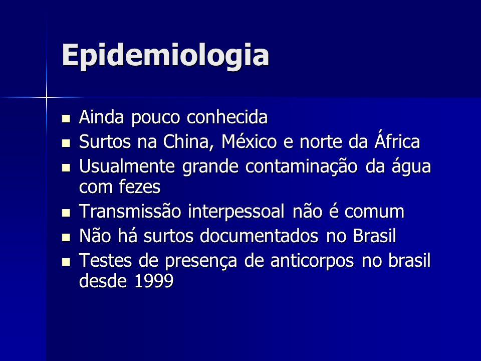 Epidemiologia Ainda pouco conhecida