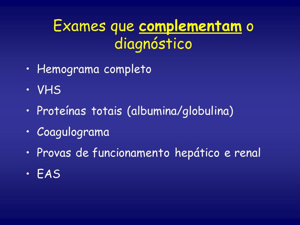 Exames que complementam o diagnóstico