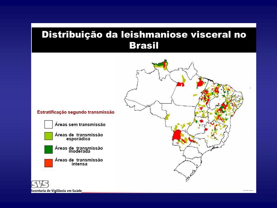 Distribuição da leishmaniose visceral no Brasil