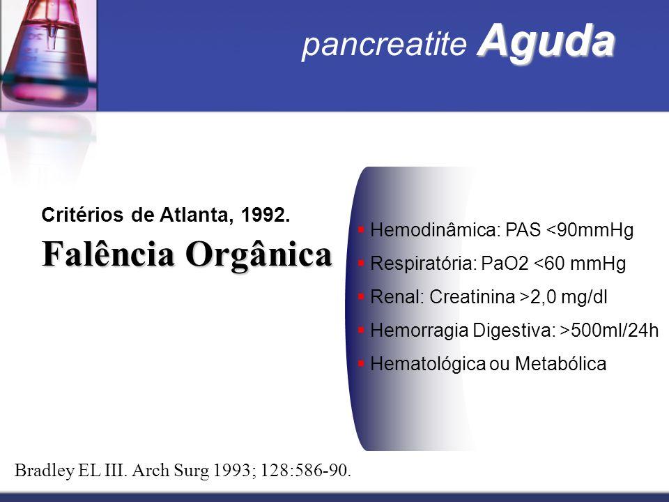 Falência Orgânica pancreatite Aguda Critérios de Atlanta, 1992.