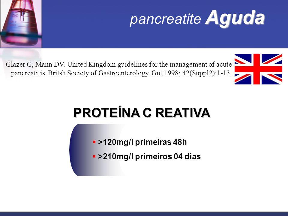 pancreatite Aguda PROTEÍNA C REATIVA >120mg/l primeiras 48h
