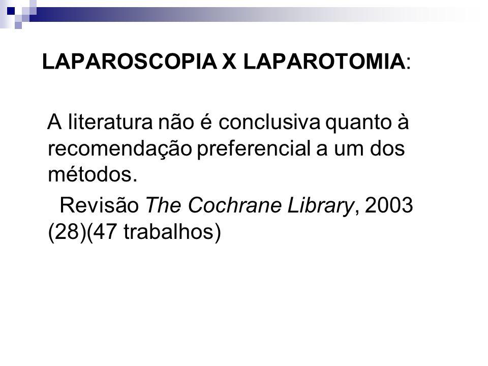 LAPAROSCOPIA X LAPAROTOMIA: