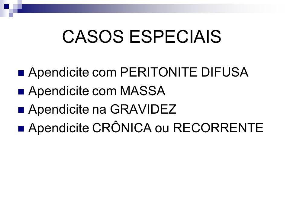 CASOS ESPECIAIS Apendicite com PERITONITE DIFUSA Apendicite com MASSA