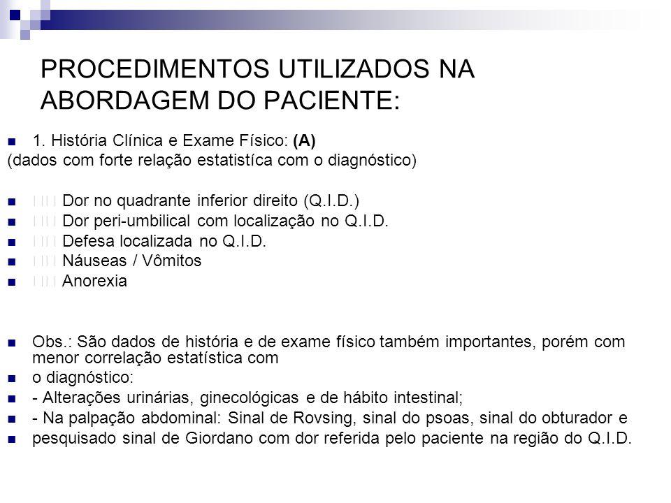 PROCEDIMENTOS UTILIZADOS NA ABORDAGEM DO PACIENTE: