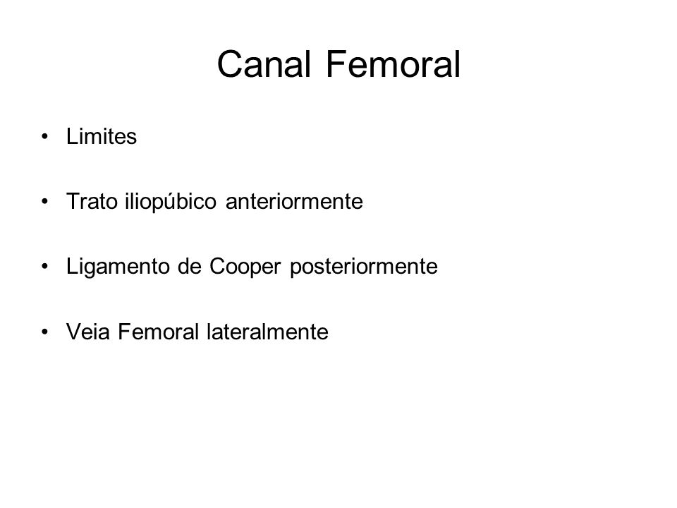 Canal Femoral Limites Trato iliopúbico anteriormente
