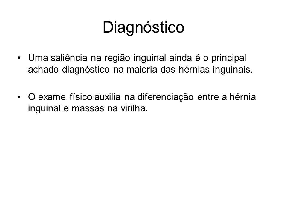 Diagnóstico Uma saliência na região inguinal ainda é o principal achado diagnóstico na maioria das hérnias inguinais.