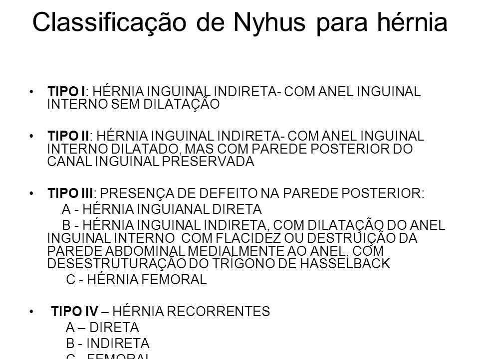 Classificação de Nyhus para hérnia