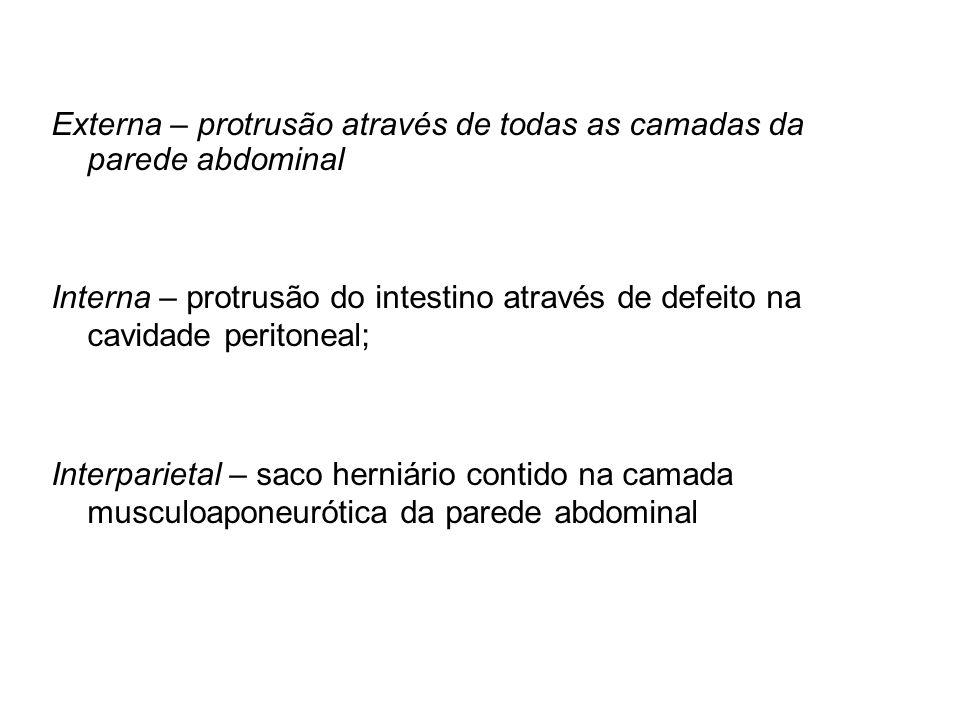 Externa – protrusão através de todas as camadas da parede abdominal Interna – protrusão do intestino através de defeito na cavidade peritoneal; Interparietal – saco herniário contido na camada musculoaponeurótica da parede abdominal