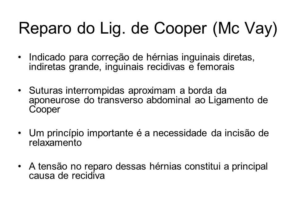 Reparo do Lig. de Cooper (Mc Vay)