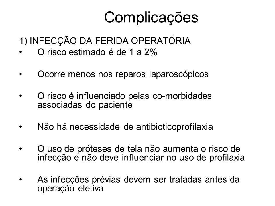 Complicações 1) INFECÇÃO DA FERIDA OPERATÓRIA
