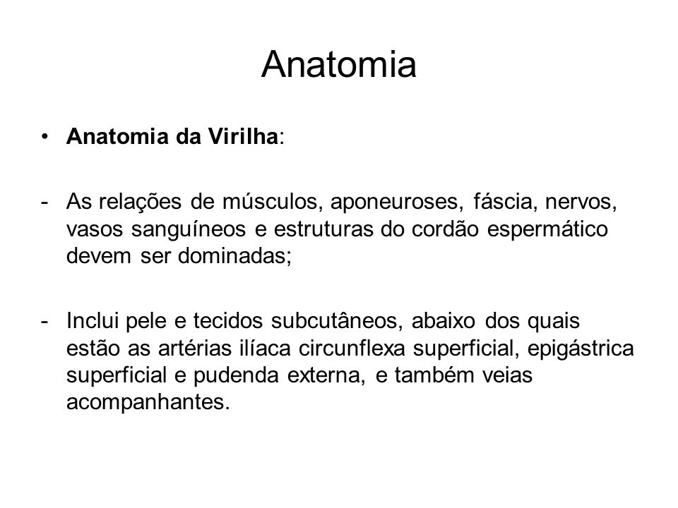Anatomia Anatomia da Virilha: