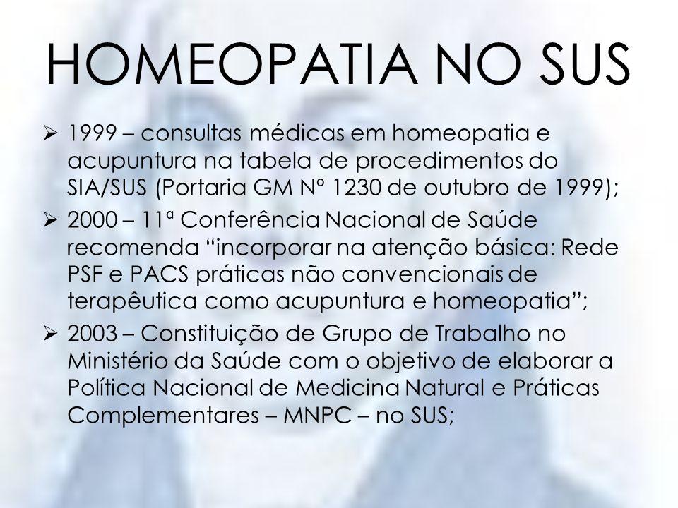 HOMEOPATIA NO SUS1999 – consultas médicas em homeopatia e acupuntura na tabela de procedimentos do SIA/SUS (Portaria GM Nº 1230 de outubro de 1999);
