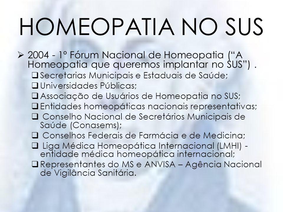 HOMEOPATIA NO SUS2004 - 1º Fórum Nacional de Homeopatia ( A Homeopatia que queremos implantar no SUS ) .
