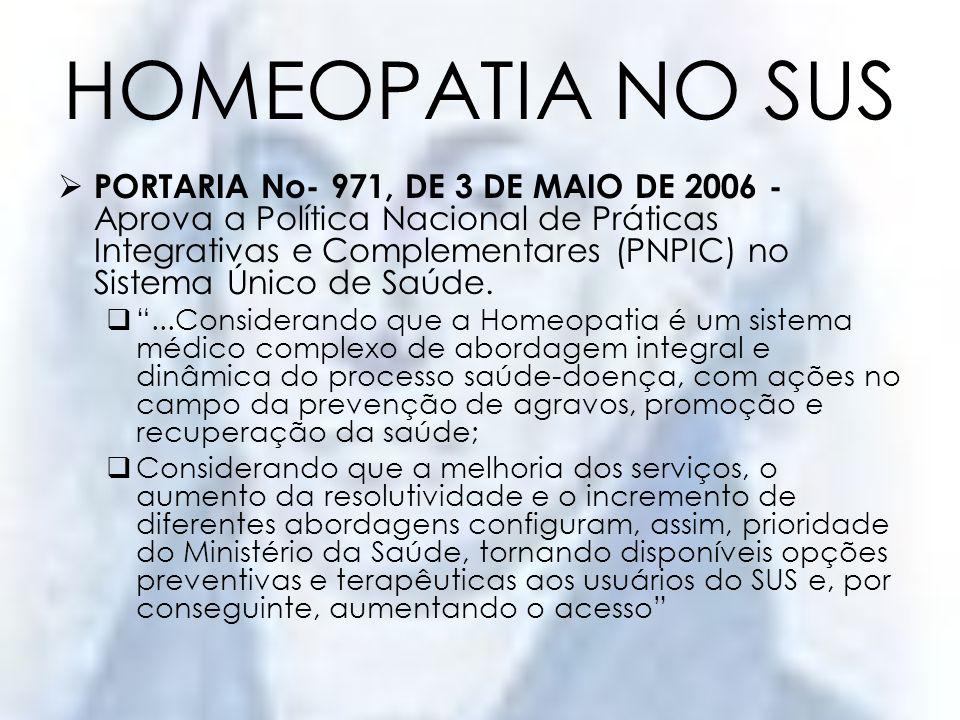HOMEOPATIA NO SUS