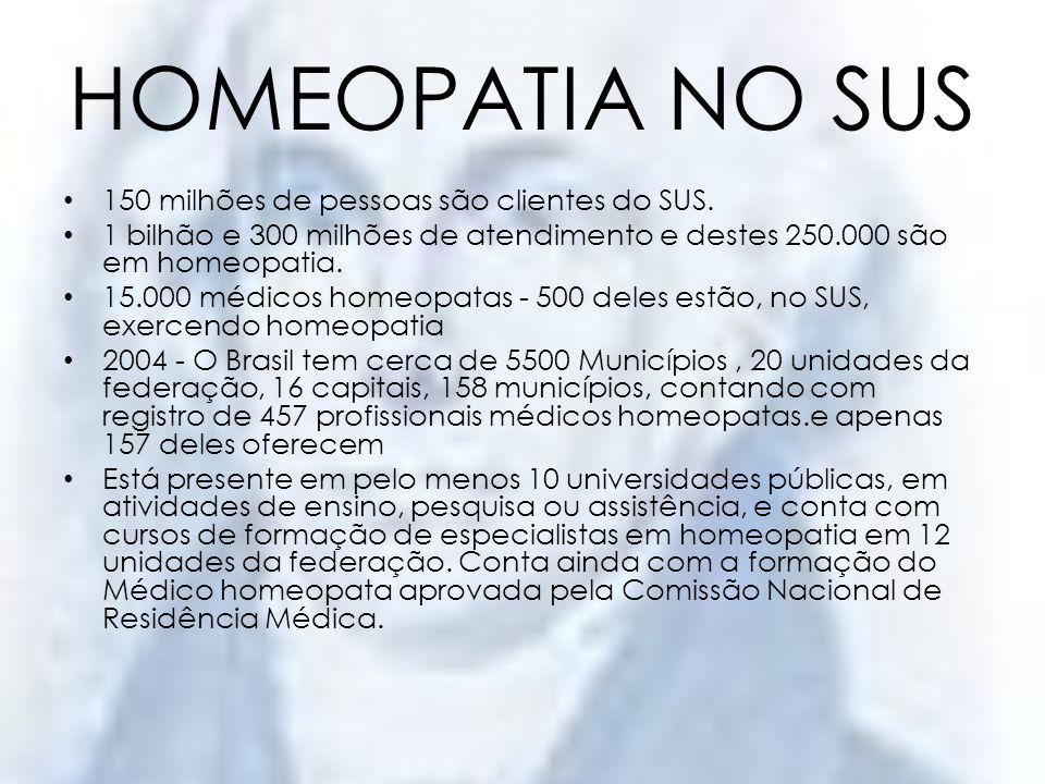 HOMEOPATIA NO SUS 150 milhões de pessoas são clientes do SUS.