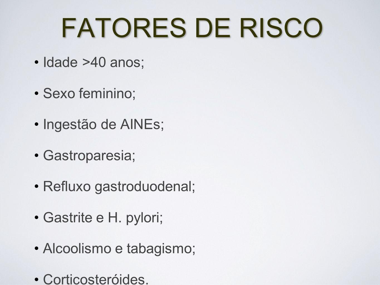FATORES DE RISCO Idade >40 anos; Sexo feminino; Ingestão de AINEs;