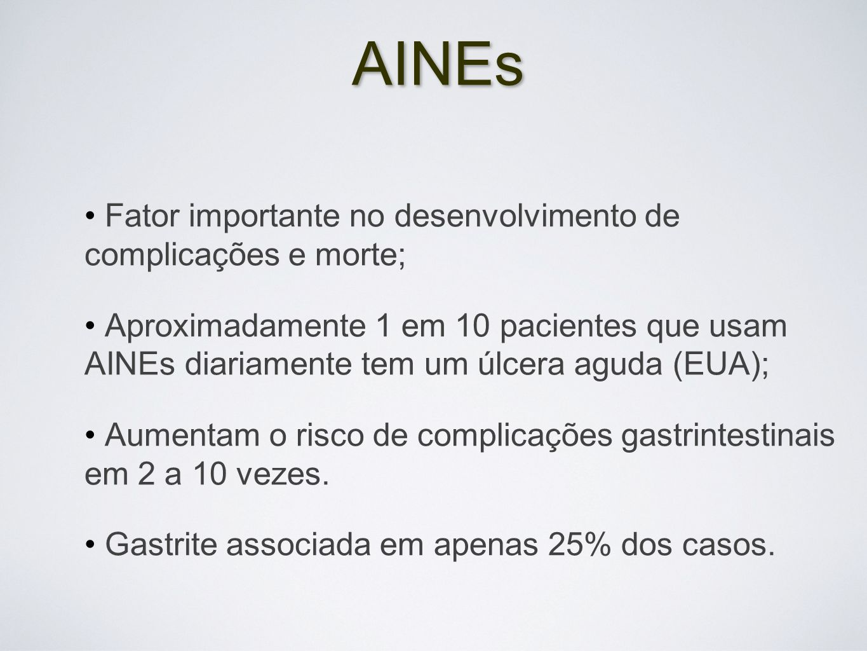 AINEs Fator importante no desenvolvimento de complicações e morte;
