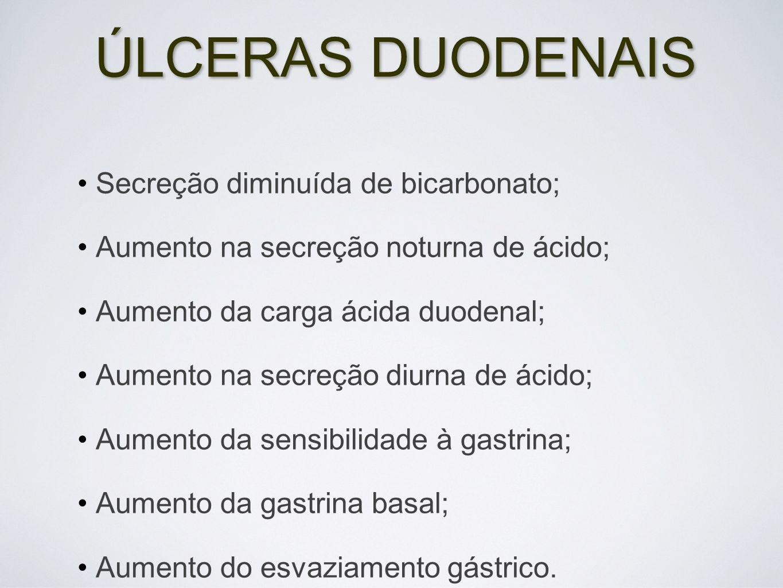 ÚLCERAS DUODENAIS Secreção diminuída de bicarbonato;