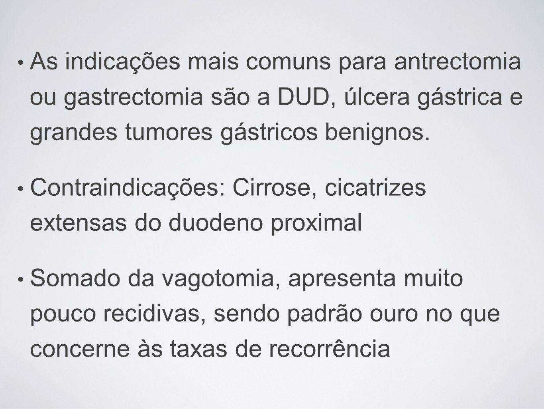 As indicações mais comuns para antrectomia ou gastrectomia são a DUD, úlcera gástrica e grandes tumores gástricos benignos.