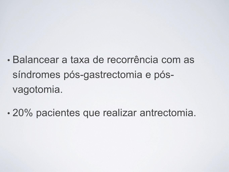Balancear a taxa de recorrência com as síndromes pós-gastrectomia e pós- vagotomia.