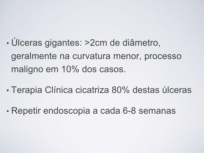 Úlceras gigantes: >2cm de diâmetro, geralmente na curvatura menor, processo maligno em 10% dos casos.