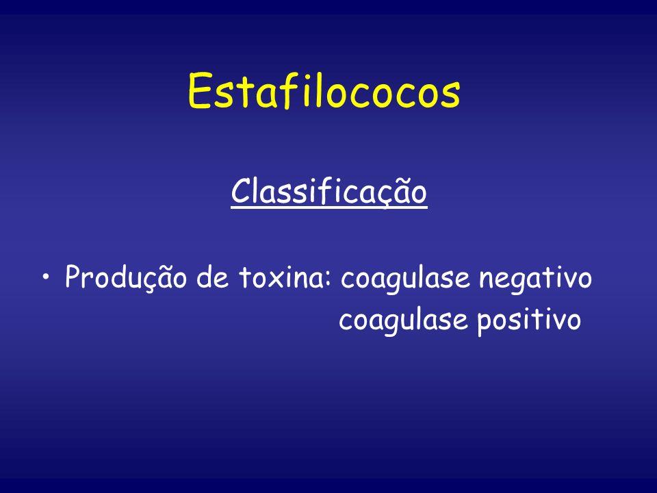 Estafilococos Classificação Produção de toxina: coagulase negativo